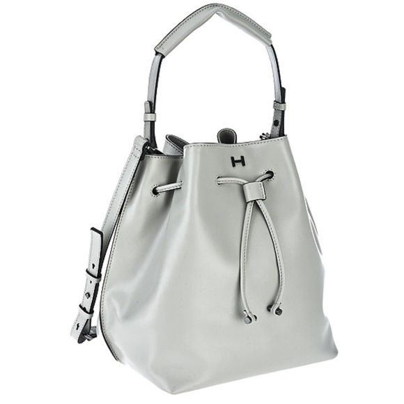 4d1ea250d3c7 H by Halston Smooth Leather Drawstring Bucket Bag